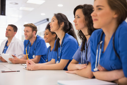 medical students learning in classroom