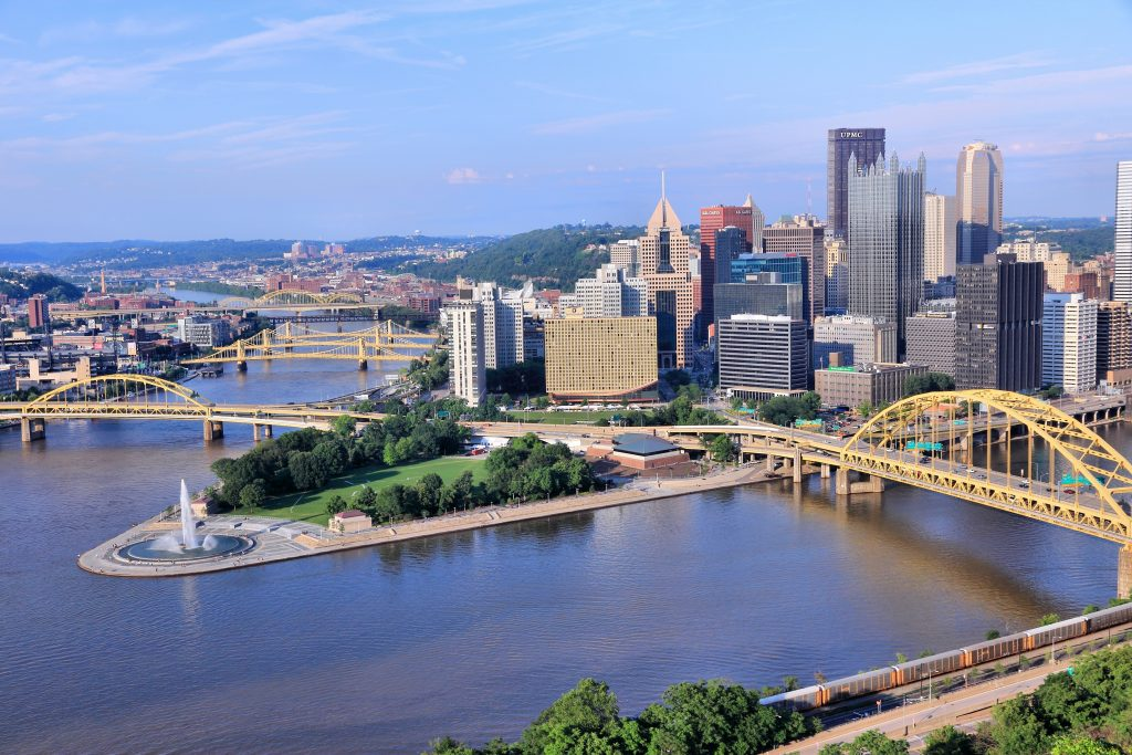 skyline view of downtown pittsburgh pennsylvania