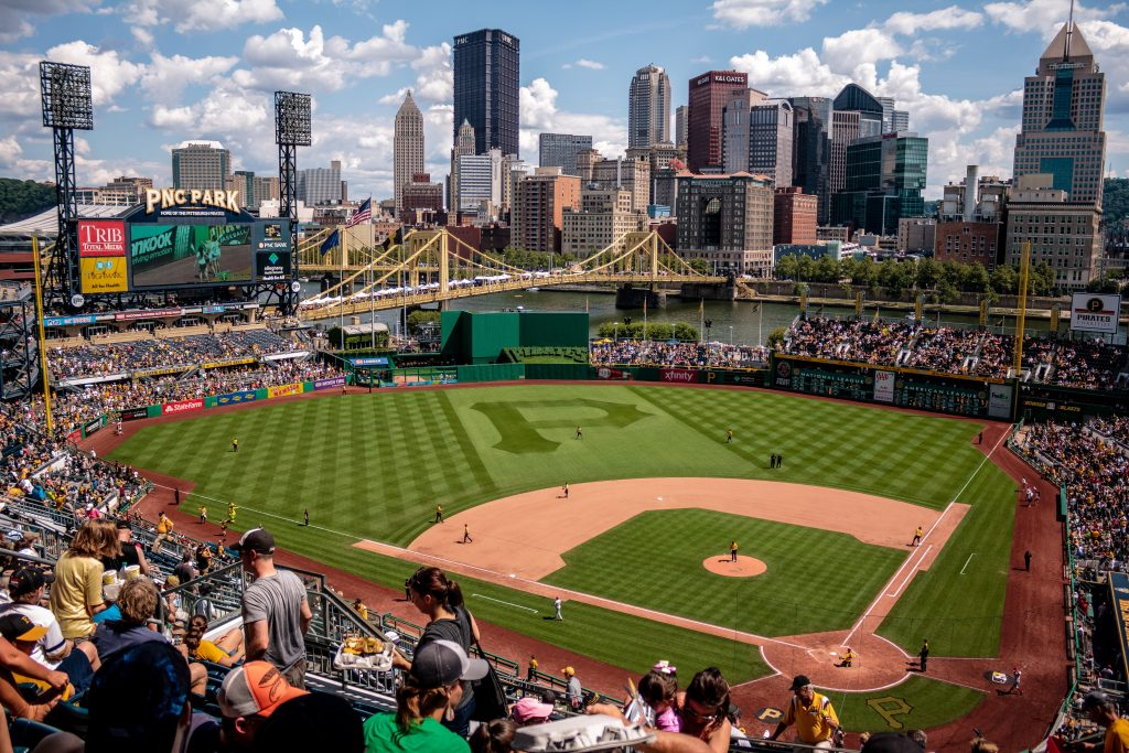 view of PNC park baseball field in Pittsburgh
