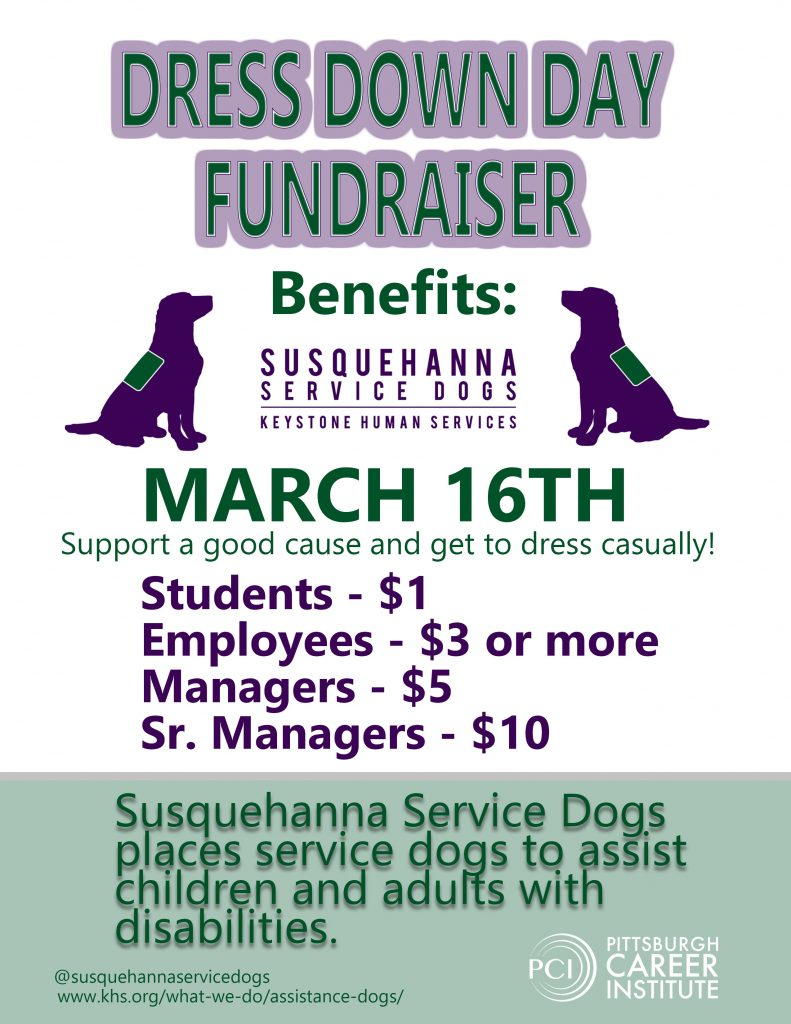 Dress Down Fundraiser Day to benefit Susquehanna Service Dogs